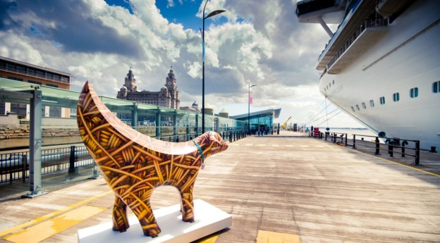 super lamb banana at the liverpool cruise terminal with the royal liver building in the background welcome to cuise