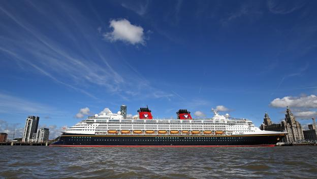disney cruise line in front of the liverpool waterfront