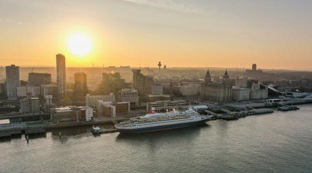 Fred olsen cruise line at sunrise at the liverpool cruise terminal - aerial photograph